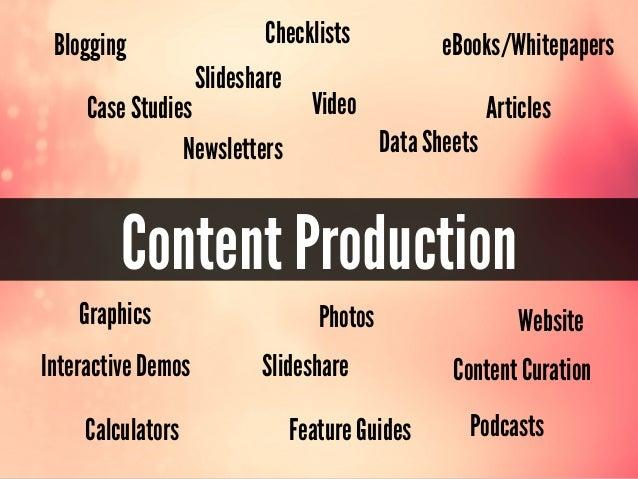 Content ProductionBloggingVideoeBooks/WhitepapersGraphics WebsiteSlidesharePodcastsSlidesharePhotosArticlesCase StudiesChe...