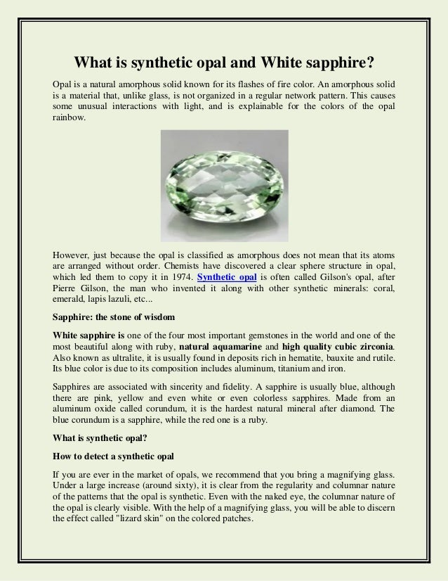 What is synthetic opal and white sapphire