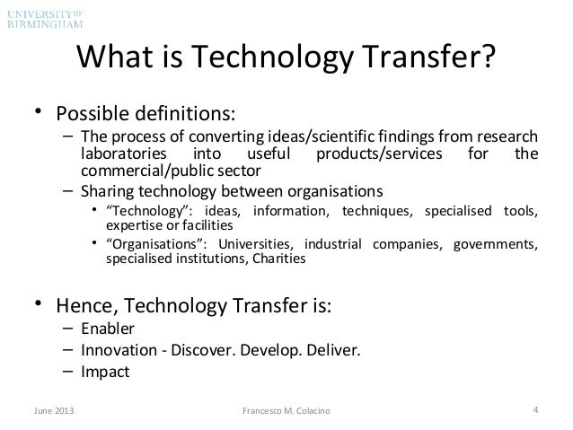 technical english facilities transfer of technology Defining the concepts of technology and technology transfer: a literature analysis materials, cognitive and physi cal processes, facilities, machines and tools.