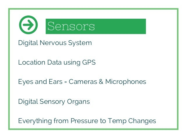 Sensors Digital Nervous System Location Data using GPS Eyes and Ears = Cameras & Microphones Digital Sensory Organs Everyt...