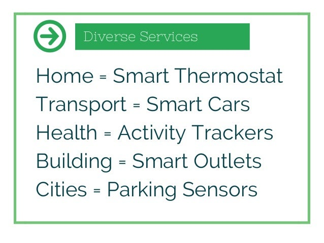 Diverse Services Home = Smart Thermostat Transport = Smart Cars Health = Activity Trackers Building = Smart Outlets Cities...
