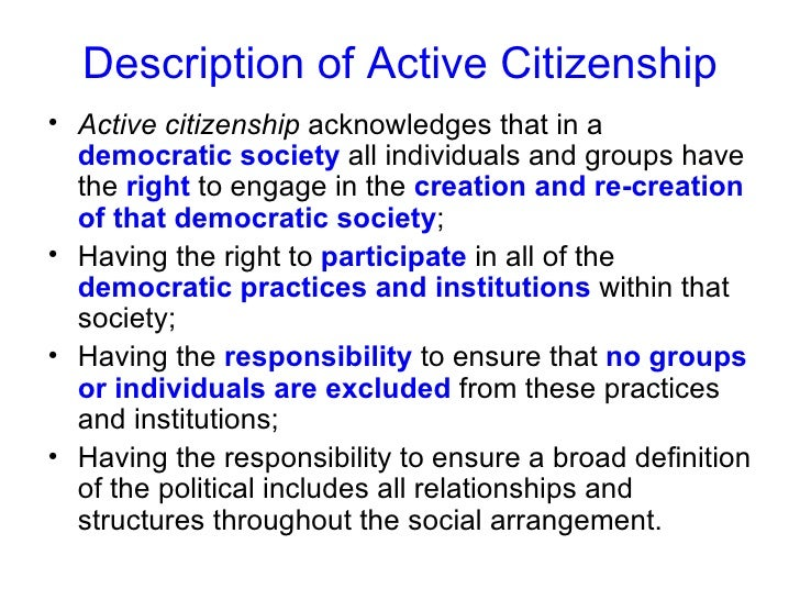 what does being an active citizen mean