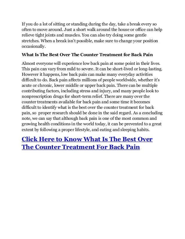 What Is The Best Over The Counter Treatment For Back Pain