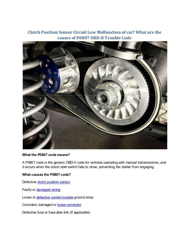 What Is A Clutch In A Car >> Partsavatar Ca What Is The Clutch Position Sensor Circuit