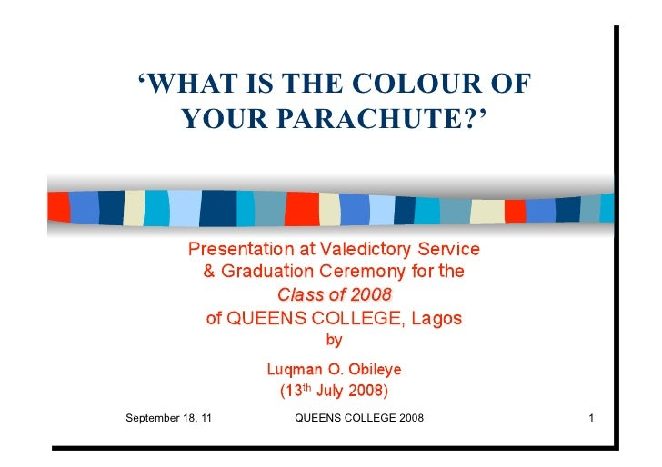 'WHAT IS THE COLOUR OF    YOUR PARACHUTE?'September 18, 11   QUEENS COLLEGE 2008   1