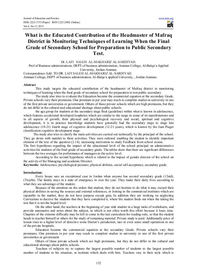 Journal of Education and Practice www.iiste.org ISSN 2222-1735 (Paper) ISSN 2222-288X (Online) Vol.4, No.12, 2013 152 What...
