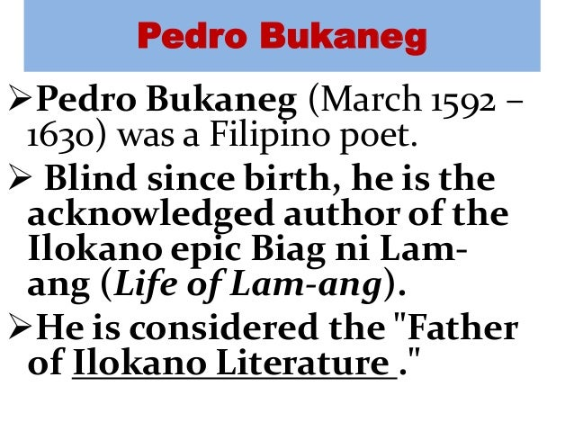 analysis of the epic life of lam ang Kannoyan (story of the life of lam-ang, spouse of do a ines kannoyan) is a mixture of spanish and indigenous cultures iag ni lam-ang epic biag ni lam-ang is an epic replete with events that depict the whirlwind as a necessary weapon of the hero in battling.