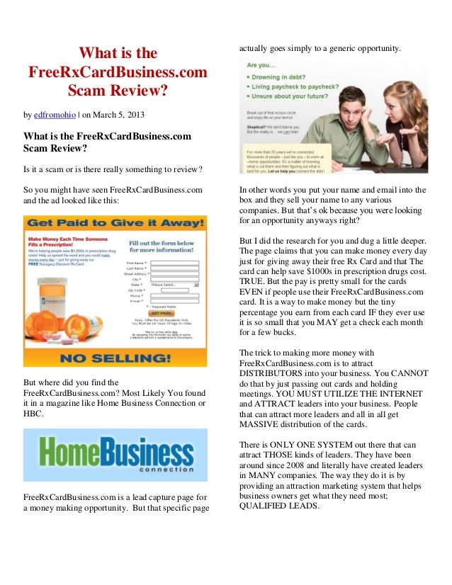What is theFreeRxCardBusiness.comScam Review?by edfromohio | on March 5, 2013What is the FreeRxCardBusiness.comScam Review...
