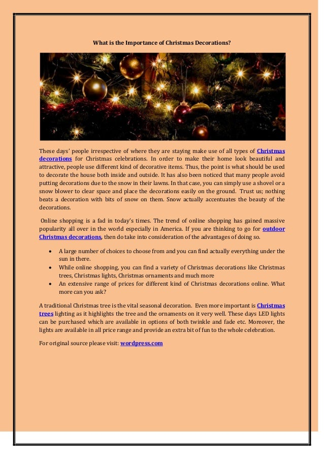 What Is The Importance Of Christmas Decorations These Days People Irrespective Where They