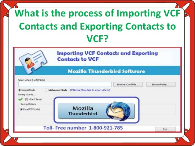 What is the process of importing vcf contacts and exporting