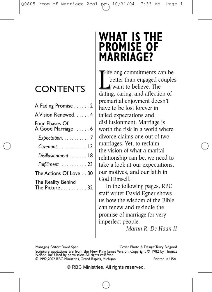 WHAT IS THE                                         PROMISE OF                                         MARRIAGE?          ...