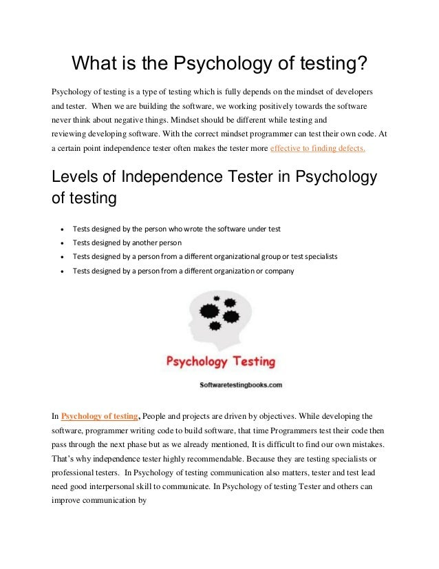 What is the psychology of testing
