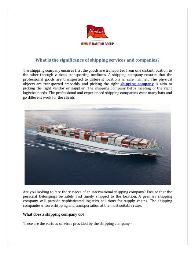 What is the significance of shipping services and companies