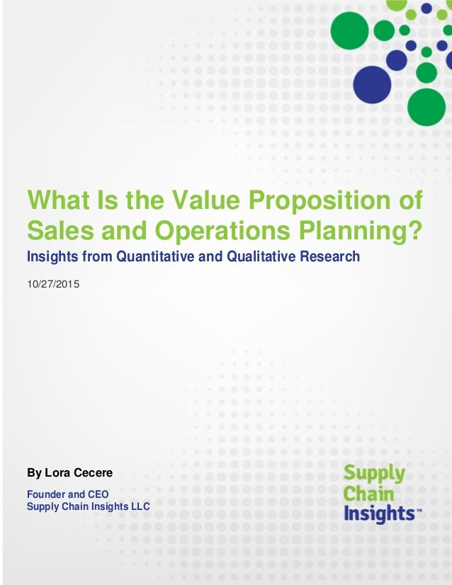 What Is the Value Proposition of Sales and Operations Planning?
