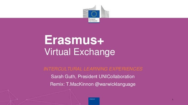 Erasmus+Erasmus+ Erasmus+ Virtual Exchange INTERCULTURAL LEARNING EXPERIENCES Sarah Guth, President UNICollaboration Remix...