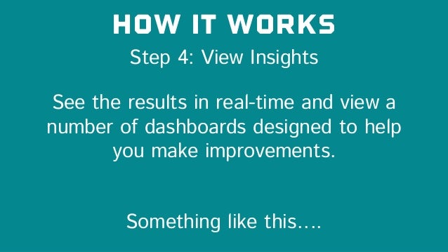 Step 4: View Insights How it works See the results in real-time and view a number of dashboards designed to help you make ...