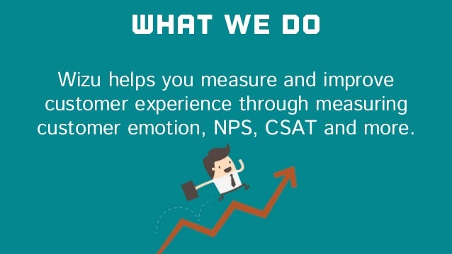 Wizu helps you measure and improve customer experience through measuring customer emotion, NPS, CSAT and more. What we do