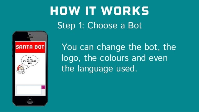 Step 1: Choose a Bot How it works You can change the bot, the logo, the colours and even the language used.
