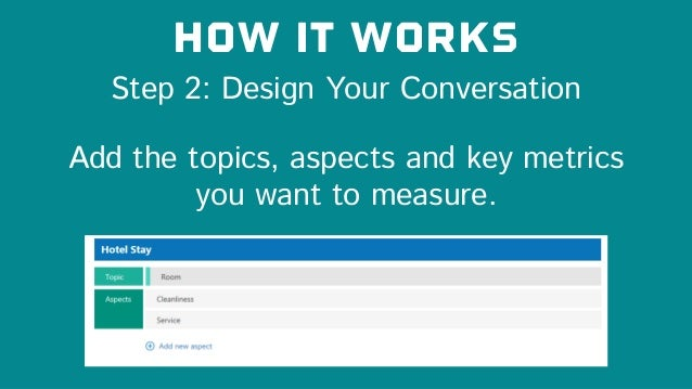 Step 2: Design Your Conversation How it works Add the topics, aspects and key metrics you want to measure.