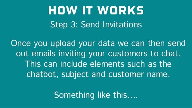 Step 3: Send Invitations How it works Once you upload your data we can then send out emails inviting your customers to cha...