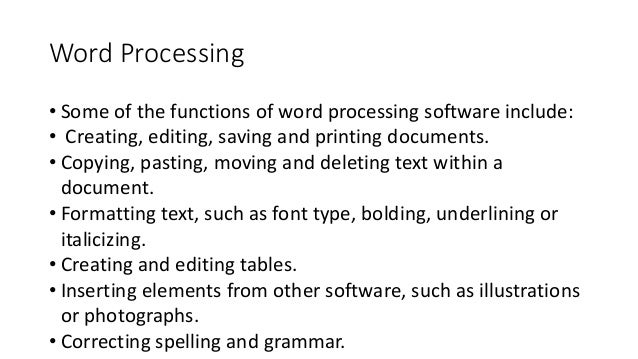 what is word processing software