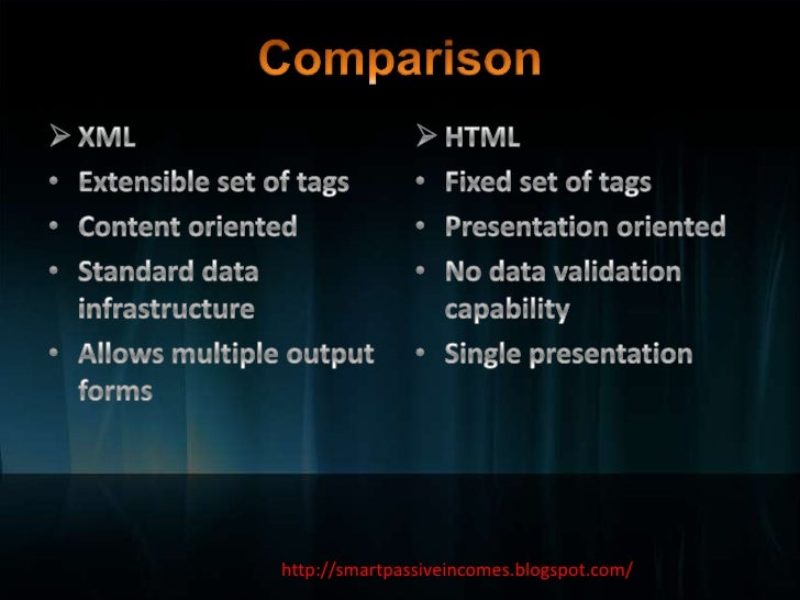 overview comparison of sgml html xml This document provides a detailed comparison of sgml (iso 8879) and xml comparison of sgml and xml version 10 table of contents 1 differences between xml and sgml 2 transforming sgml to xml 3 sgml declaration for xml 1 differences between xml and sgml xml allows only documents that use the sgml declaration in this note.