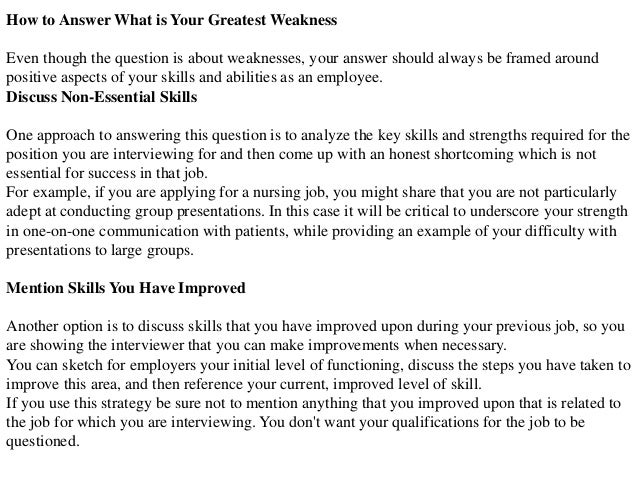 Charming Biggest Weakness Interview Question