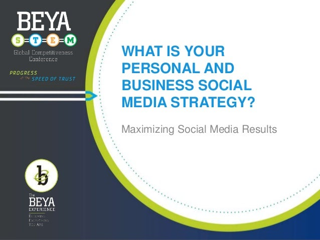 WHAT IS YOUR PERSONAL AND BUSINESS SOCIAL MEDIA STRATEGY? Maximizing Social Media Results