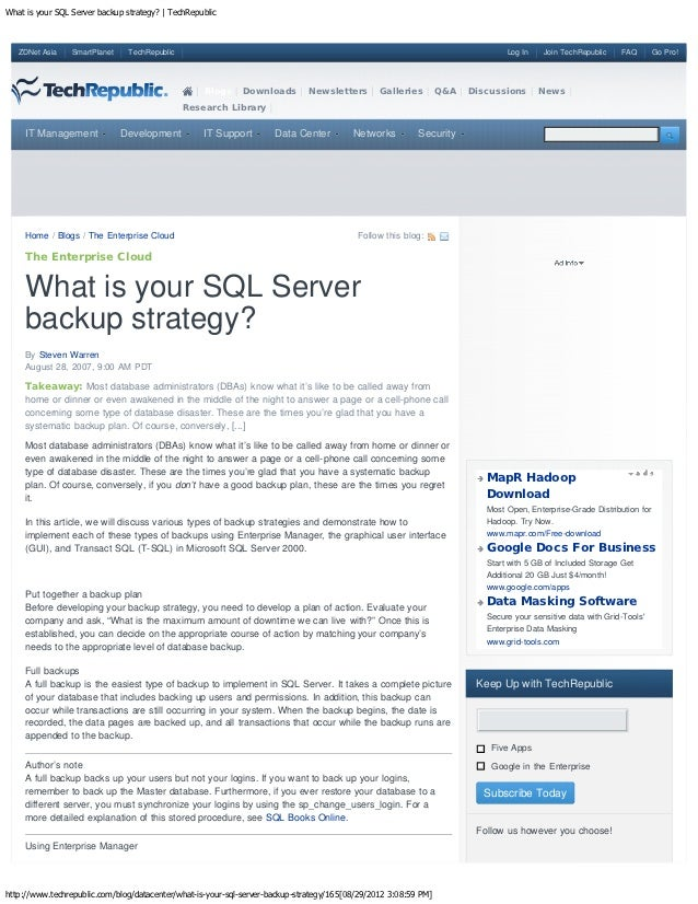 What is your SQL Server backup strategy? | TechRepublic   ZDNet Asia    SmartPlanet    TechRepublic                       ...