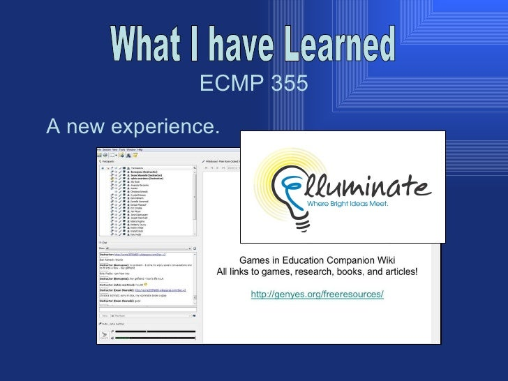 ECMP 355 What I have Learned A new experience.