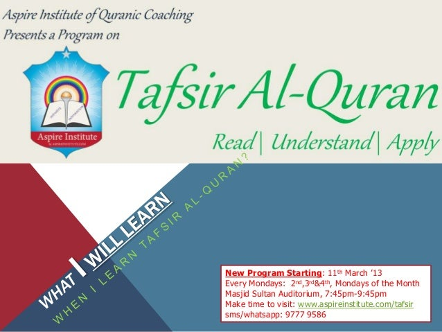New Program Starting: 11th March '13Every Mondays: 2nd,3rd&4th, Mondays of the MonthMasjid Sultan Auditorium, 7:45pm-9:45p...