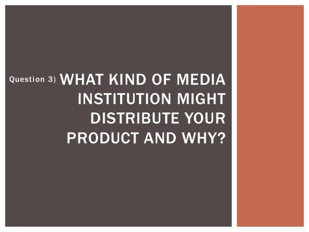 Question 3) WHAT KIND OF MEDIA INSTITUTION MIGHT DISTRIBUTE YOUR PRODUCT AND WHY?