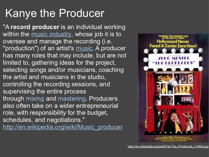 """Kanye the Producer""""A record producer is an individual workingwithin the music industry, whose job it is tooversee and mana..."""