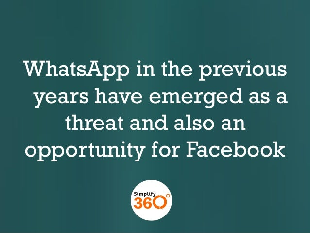WhatsApp in the previous years have emerged as a threat and also an opportunity for Facebook