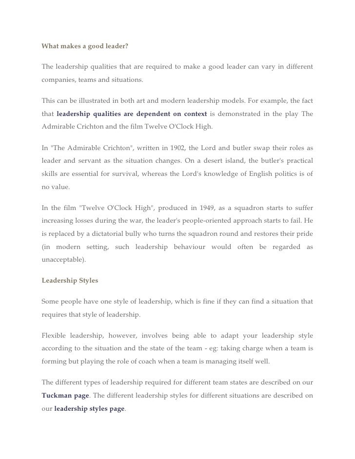 Good Leadership Qualities Essay
