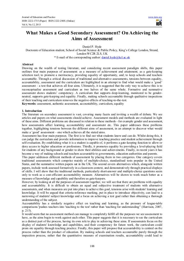 Journal of Education and Practice www.iiste.org ISSN 2222-1735 (Paper) ISSN 2222-288X (Online) Vol.4, No.12, 2013 188 What...