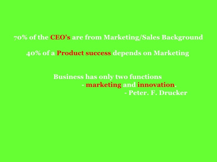 70 %   of the CEOs  are from  Marketing/Sales   Background