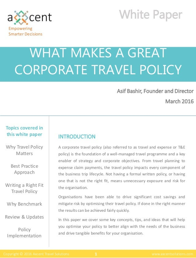 What Makes A Great T&E Policy - Free White Paper