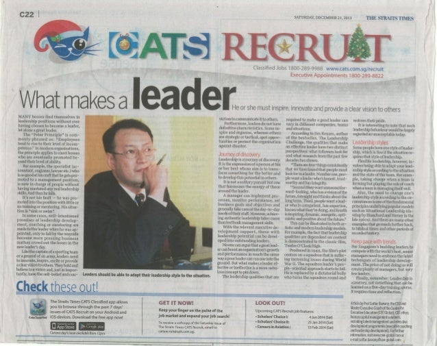 What Makes a Leader in The Straits Times 21 Dec 2013