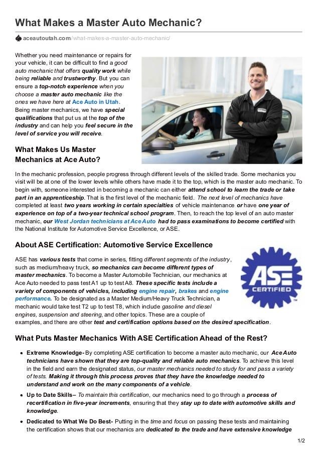 What Makes A Master Auto Mechanic