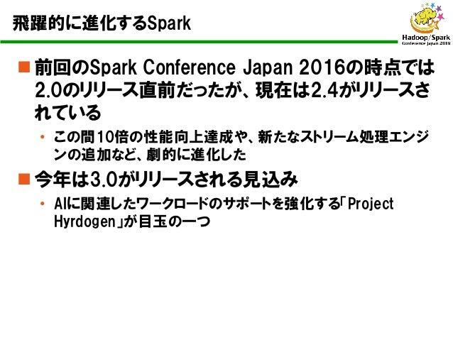飛躍的に進化するSpark n 前回のSpark Conference Japan 2016の時点では 2.0のリリース直前だったが、現在は2.4がリリースさ れている • この間10倍の性能向上達成や、新たなストリーム処理エンジ ンの追加など...