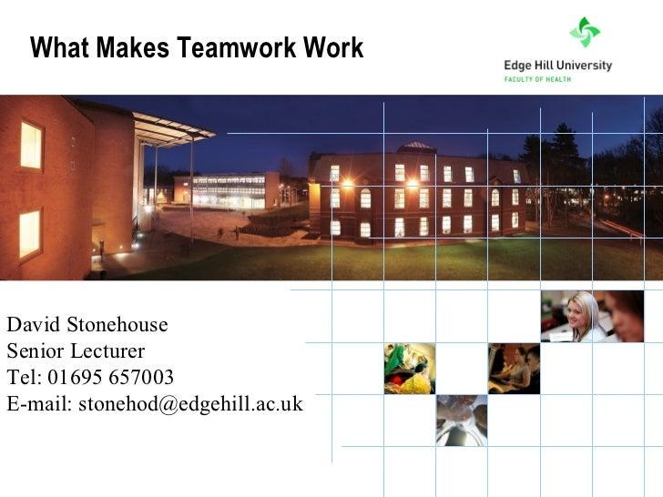 What Makes Teamwork WorkDavid StonehouseSenior LecturerTel: 01695 657003E-mail: stonehod@edgehill.ac.uk           the Univ...