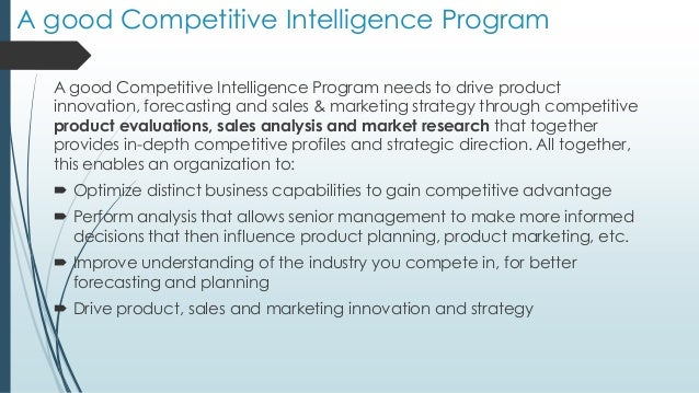 Technology Management Image: What Makes Up A Good Competitive Intelligence Program