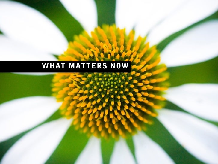 WHAT MATTERS NOW