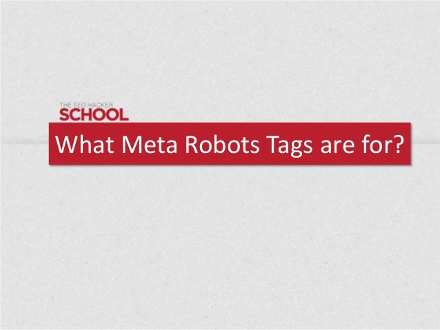 What Meta Robots Tags are for?