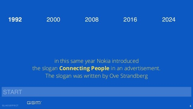 G L A S S E F F E C T 8 2000 2008 2016 20241992 START in this same year Nokia introduced the slogan Connecting People in a...