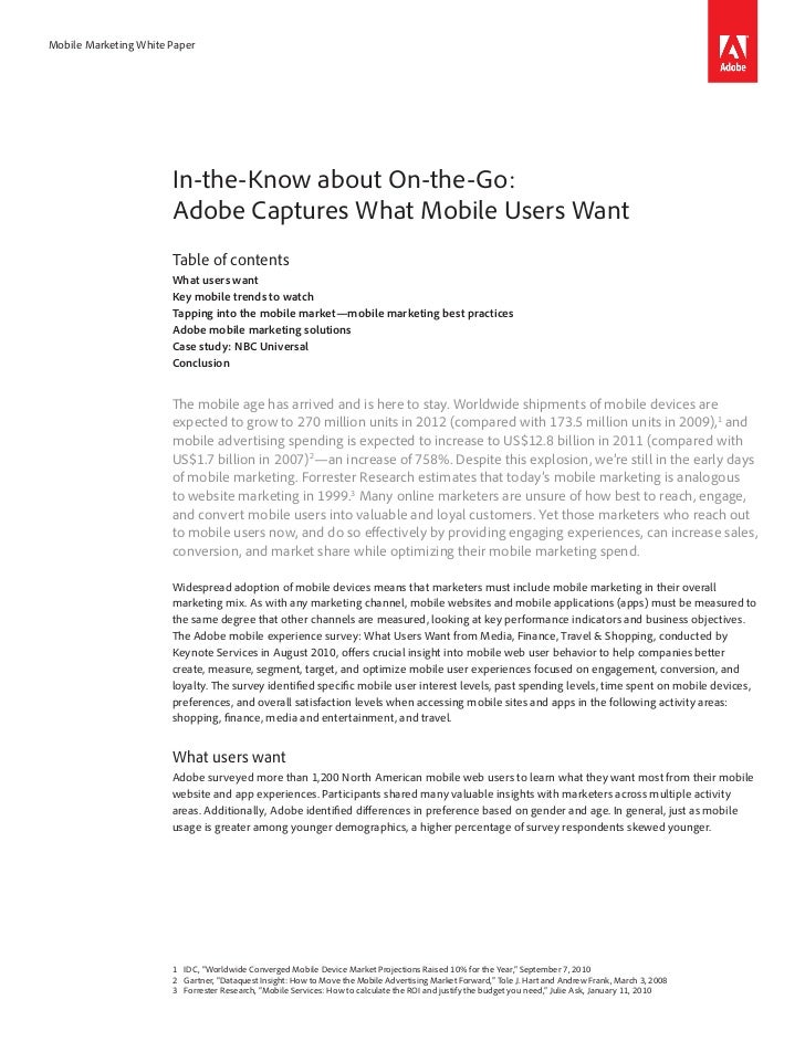 Mobile Marketing White Paper                       In-the-Know about On-the-Go:                       Adobe Captures What ...