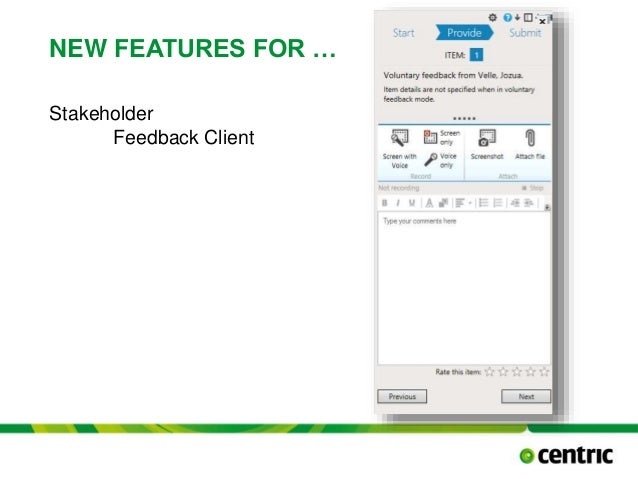 NEW FEATURES FOR … Stakeholder Feedback Client TITLE PRESENTATION December 17, 2014
