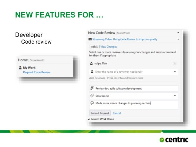 NEW FEATURES FOR … Developer Code review TITLE PRESENTATION December 17, 2014