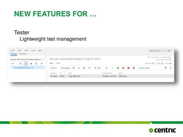 NEW FEATURES FOR … Tester Lightweight test management TITLE PRESENTATION December 17, 2014